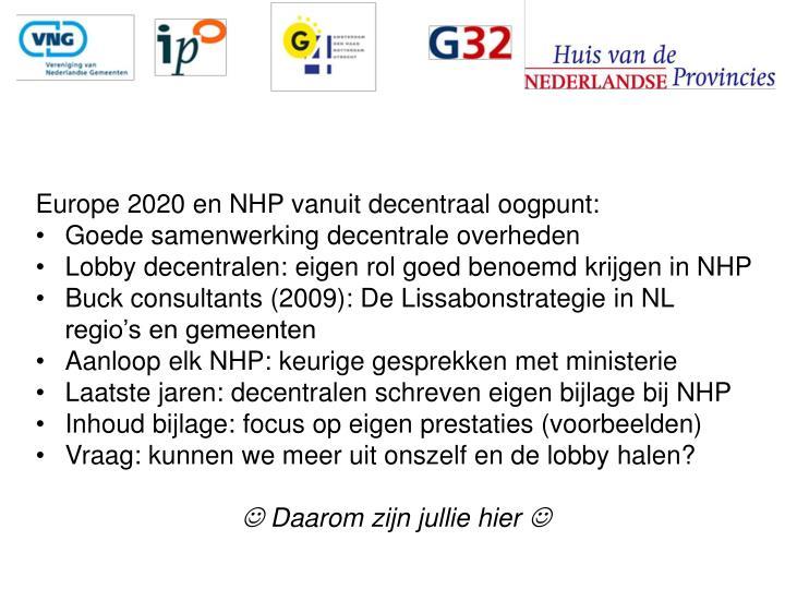 Europe 2020 en NHP vanuit decentraal oogpunt: