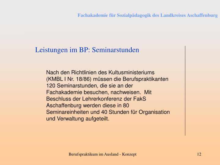 Leistungen im BP: Seminarstunden