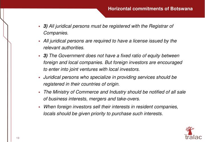 Horizontal commitments of Botswana