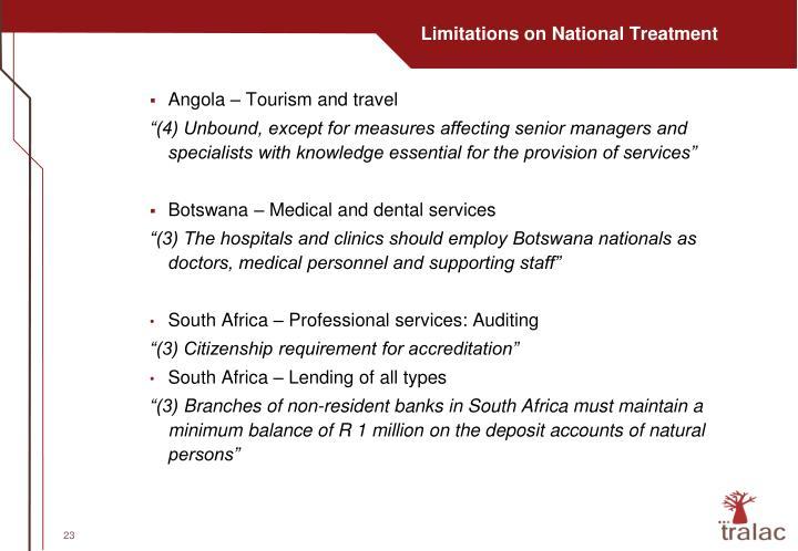 Limitations on National Treatment