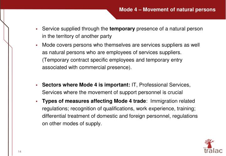 Mode 4 – Movement of natural persons