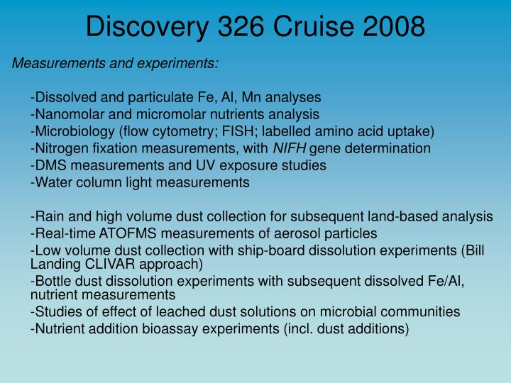 Discovery 326 Cruise 2008