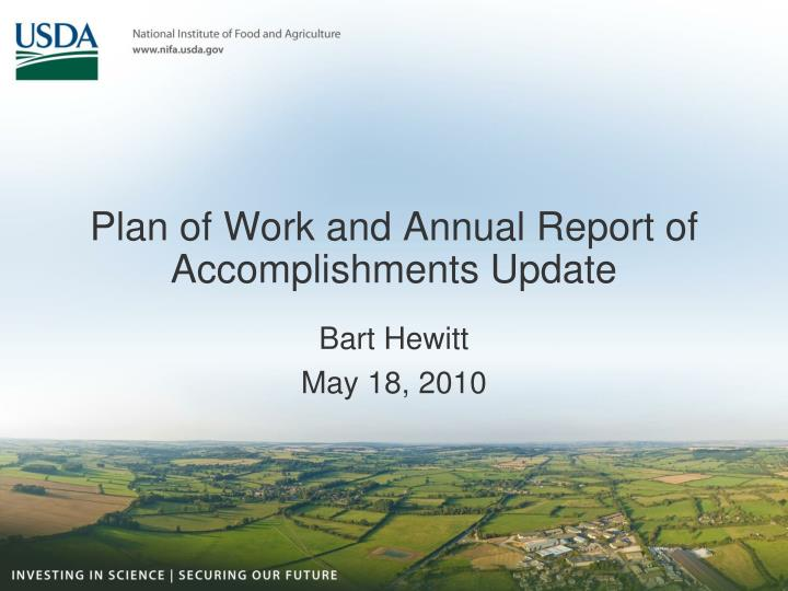 Plan of work and annual report of accomplishments update