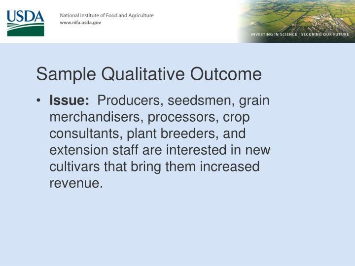 Sample Qualitative Outcome