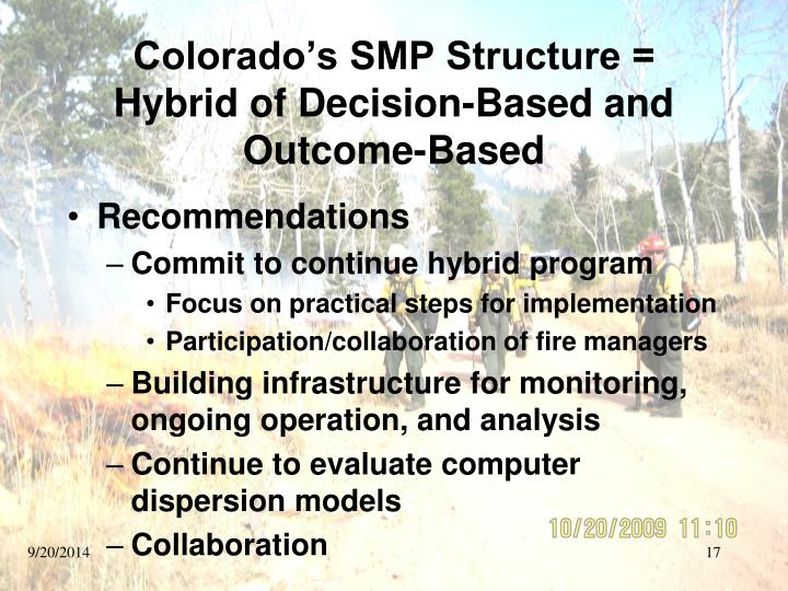 Colorado's SMP Structure = Hybrid of Decision-Based and Outcome-Based