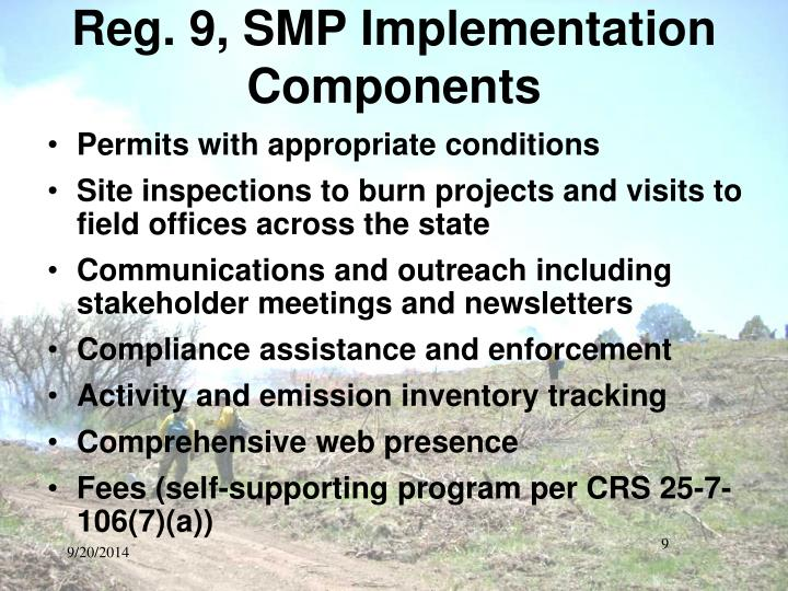 Reg. 9, SMP Implementation Components