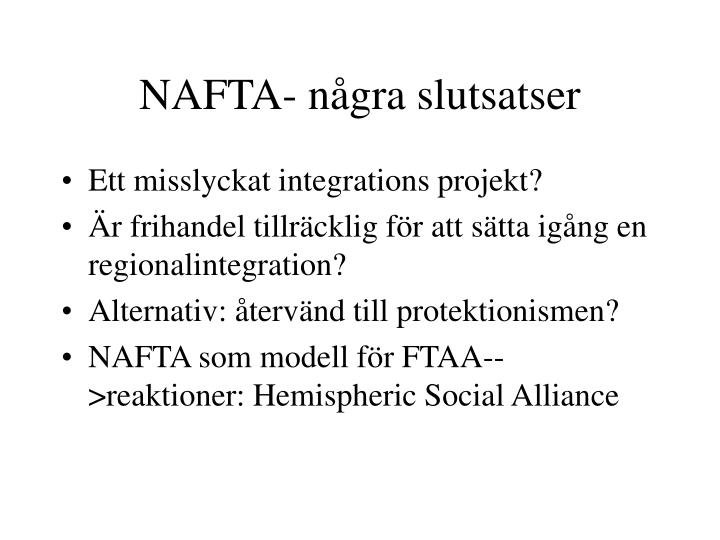 NAFTA- några slutsatser
