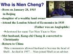 who is nien cheng