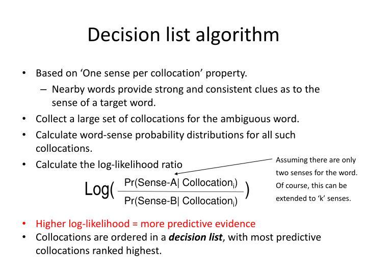 Decision list algorithm