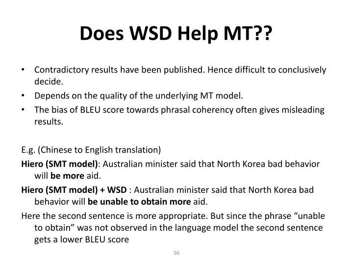 Does WSD Help MT??