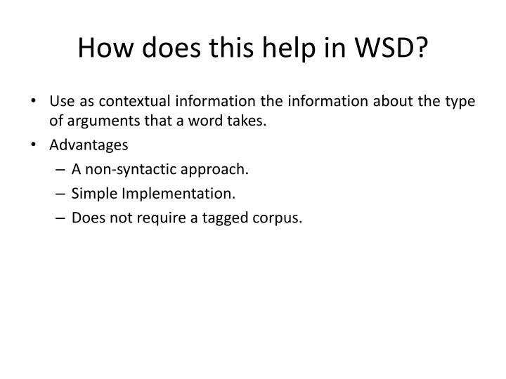 How does this help in WSD?
