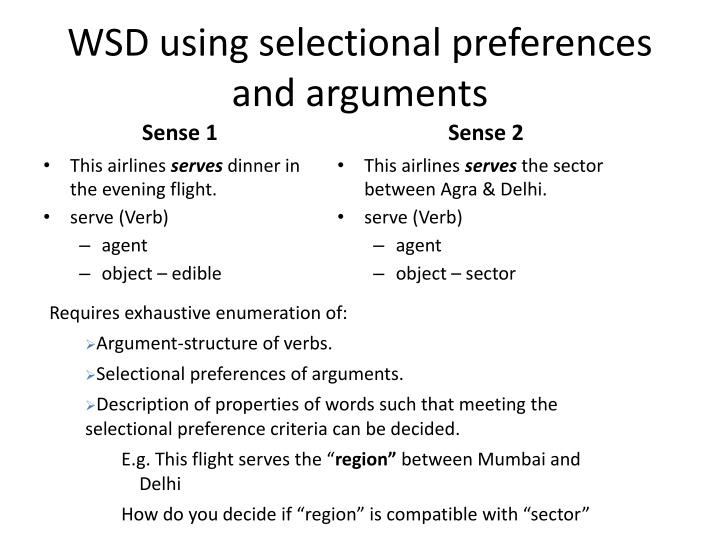 WSD using selectional preferences and arguments
