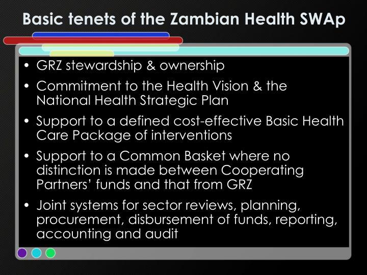 Basic tenets of the Zambian Health SWAp