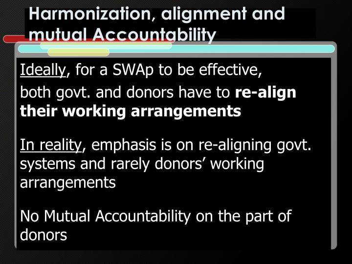 Harmonization, alignment and mutual Accountability
