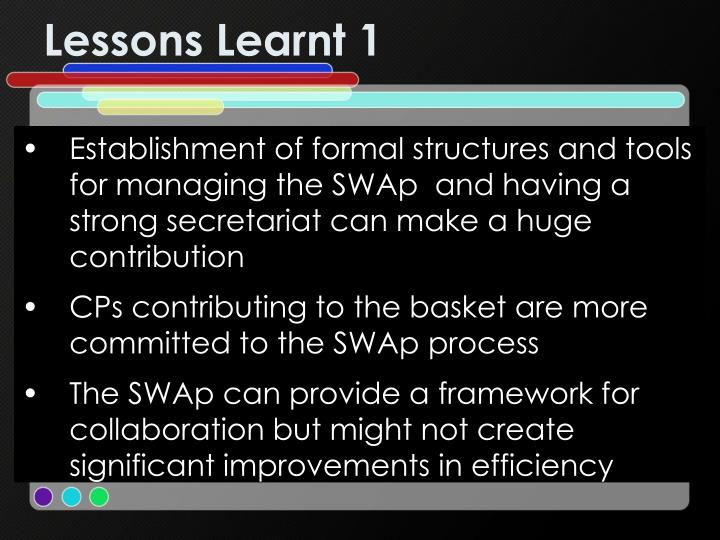 Lessons Learnt 1