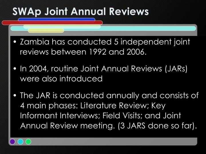 SWAp Joint Annual Reviews
