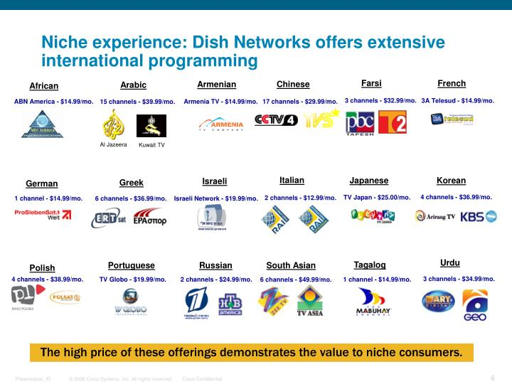 Niche experience: Dish Networks offers extensive international programming