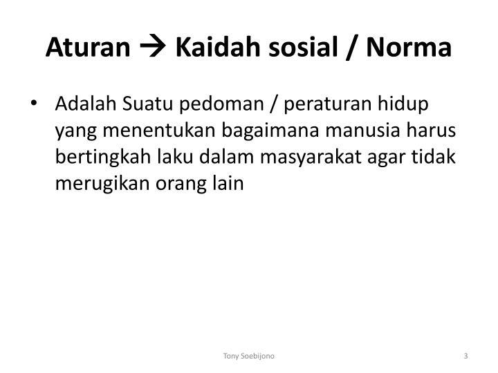 Aturan kaidah sosial norma