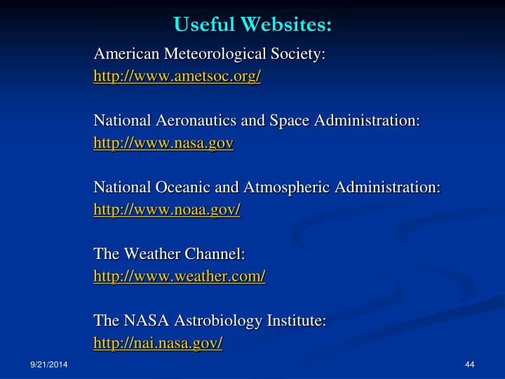 Useful Websites: