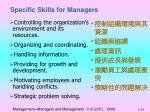 specific skills for managers