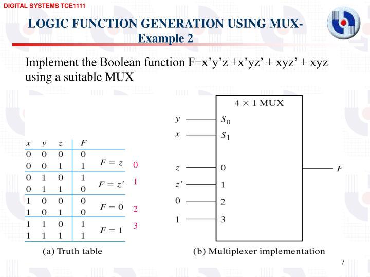 LOGIC FUNCTION GENERATION USING MUX-Example 2