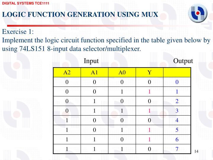 LOGIC FUNCTION GENERATION USING MUX