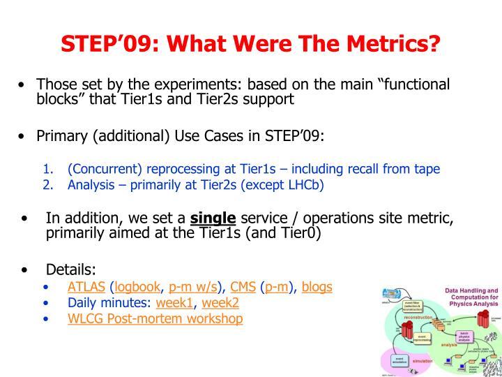 STEP'09: What Were The Metrics?