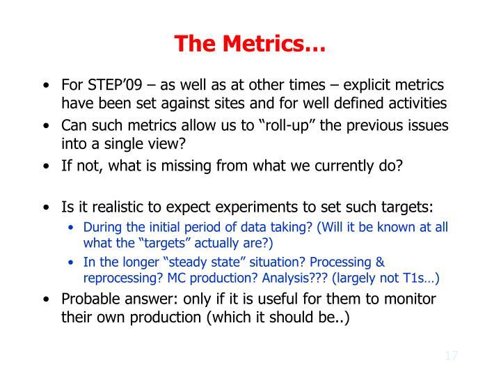 The Metrics…
