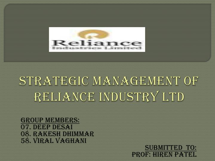 management of reliance group of industries