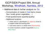 igcp sida project 594 annual workshop windhoek namibia 2012