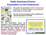 public awareness events presentation on the conferences
