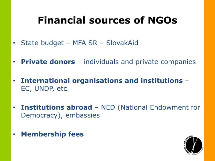 Financial sources of NGOs