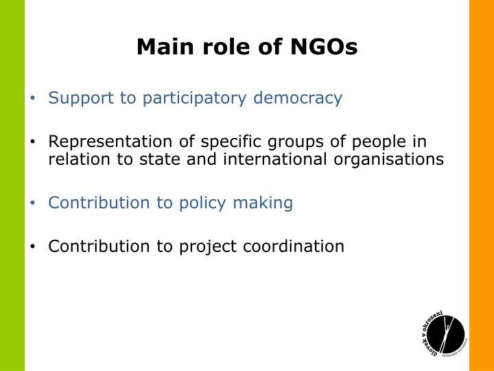 Main role of NGOs