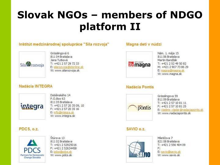 Slovak NGOs – members of NDGO platform II
