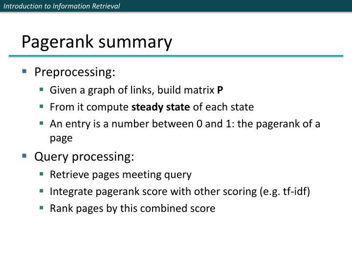 Pagerank summary