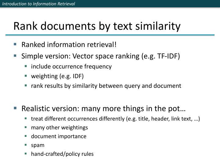 Rank documents by text similarity