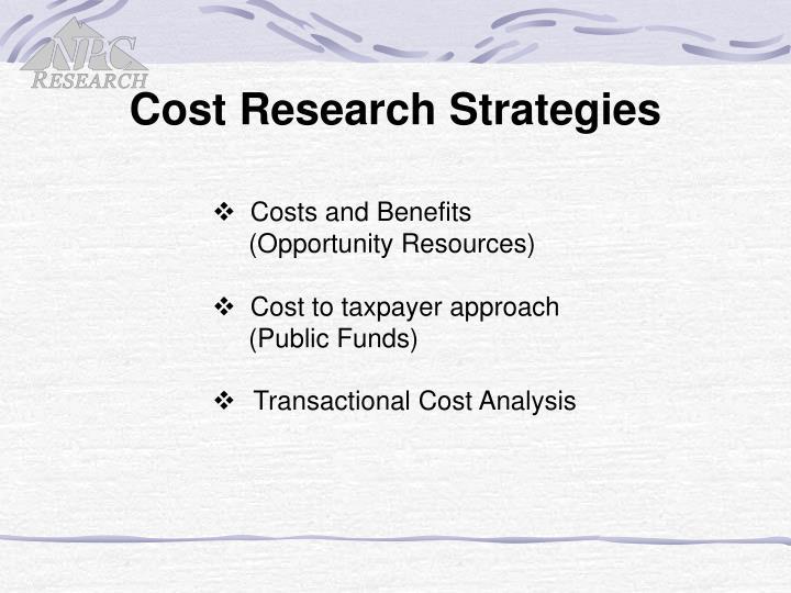 Cost Research Strategies