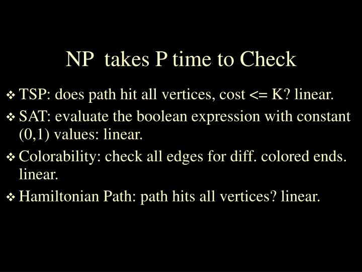 NP  takes P time to Check