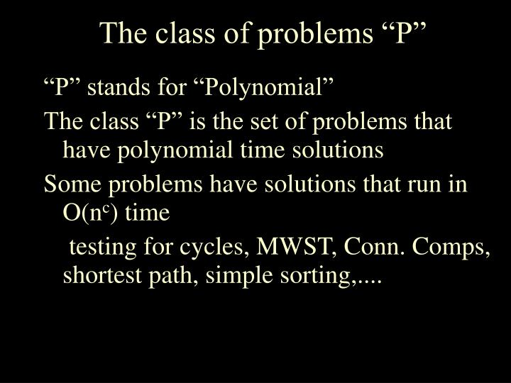 "The class of problems ""P"""