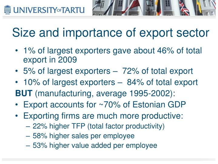 Size and importance of export sector