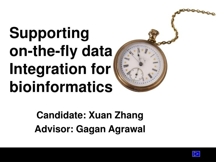 supporting on the fly data integration for bioinformatics n.