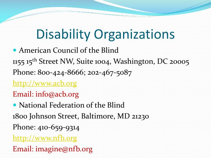 Disability Organizations