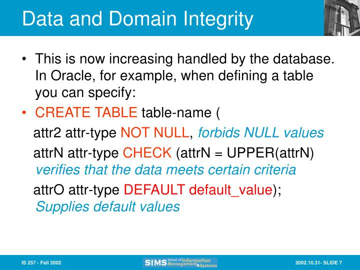 Data and Domain Integrity