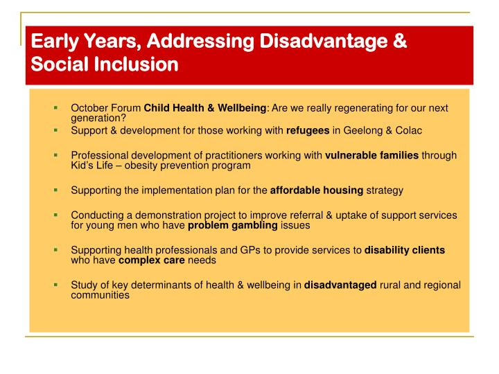 Early Years, Addressing Disadvantage & Social Inclusion
