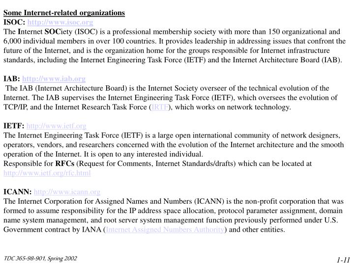 Some Internet-related organizations