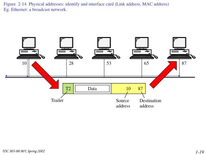 Figure  2-14  Physical addresses: identify and interface card (Link address, MAC address)