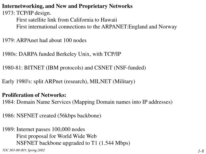 Internetworking, and New and Proprietary Networks