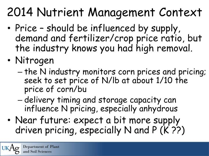Price – should be influenced by supply, demand and fertilizer/crop price ratio, but the industry knows you had high removal.