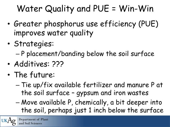 Water Quality and PUE = Win-Win