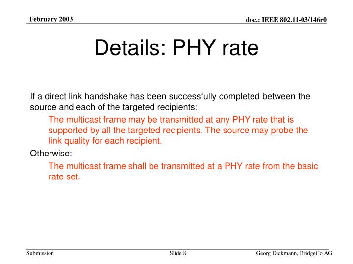 Details: PHY rate